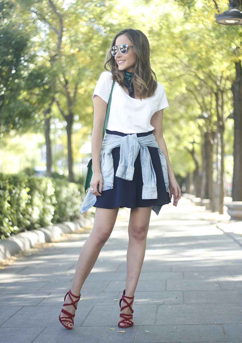 Blue Skirt Denim Shirt scarf Dior SoReal Sunnies05