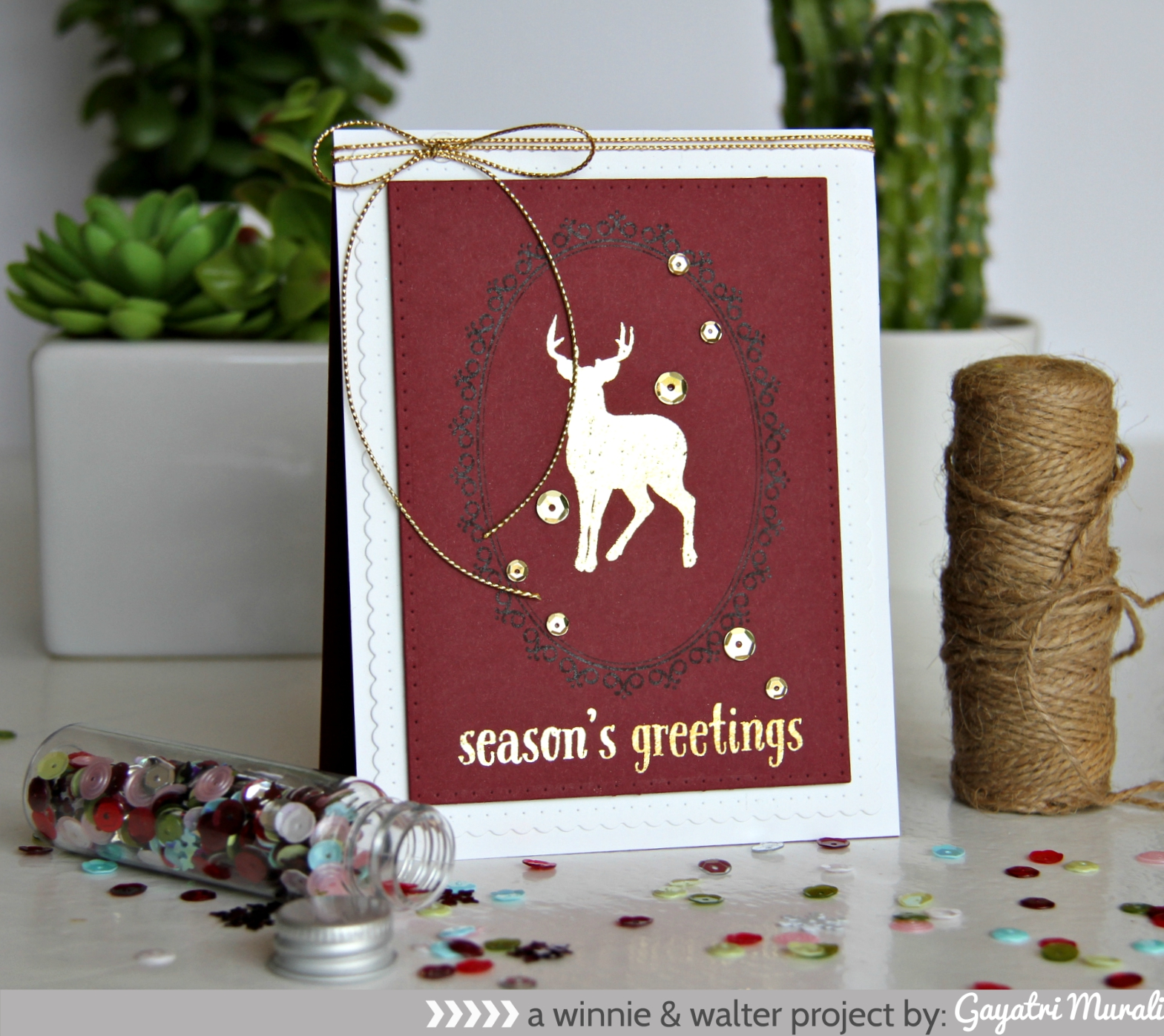 Season's Greetings Foiling on coloured cardstock