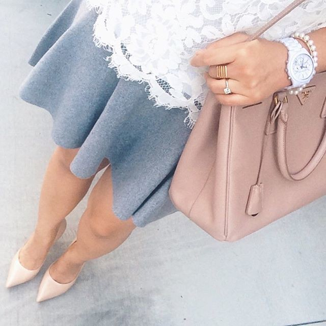 simplyxclassic, downshot, instagram, grey skirt, lace top, prada bag, ootd, fashion blogger, style