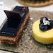 Opera cake and blueberry cheesecake