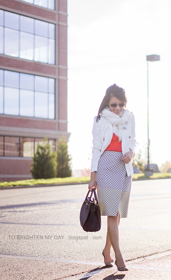linen scarf, white blazer, orange lace top, brocade wrap skirt, glitter pumps