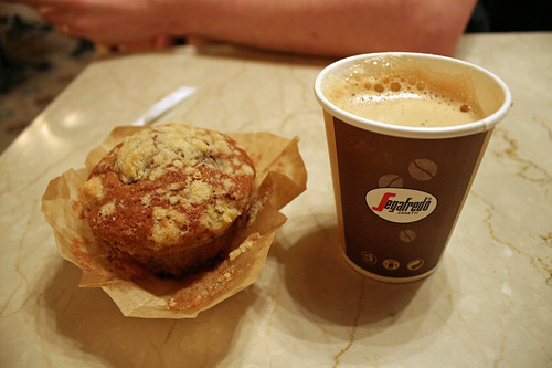 nut muffin and coffee