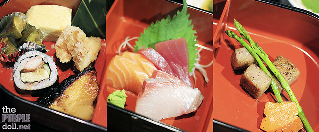 Assorted appetizers, sashimi and beef cubes