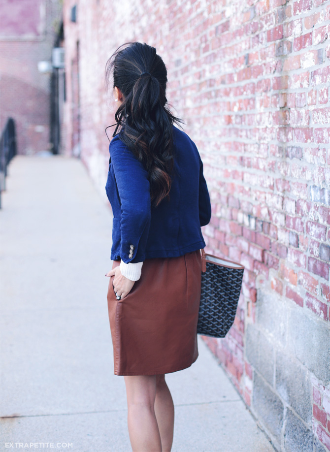 navy blazer leather skirt