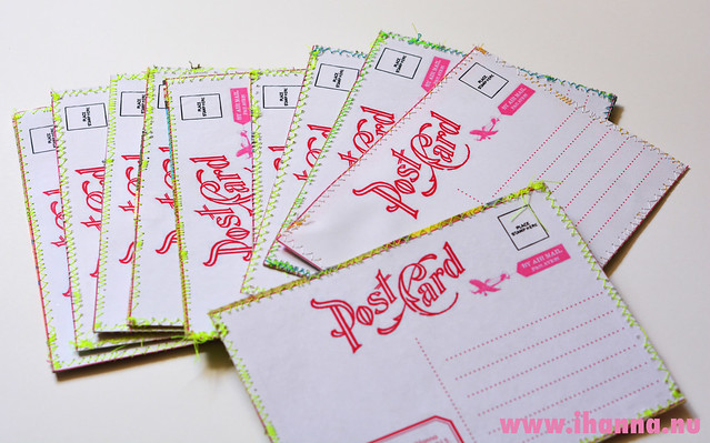 Spring DIY Postcard Swap pile - backsides with neon thread by iHanna