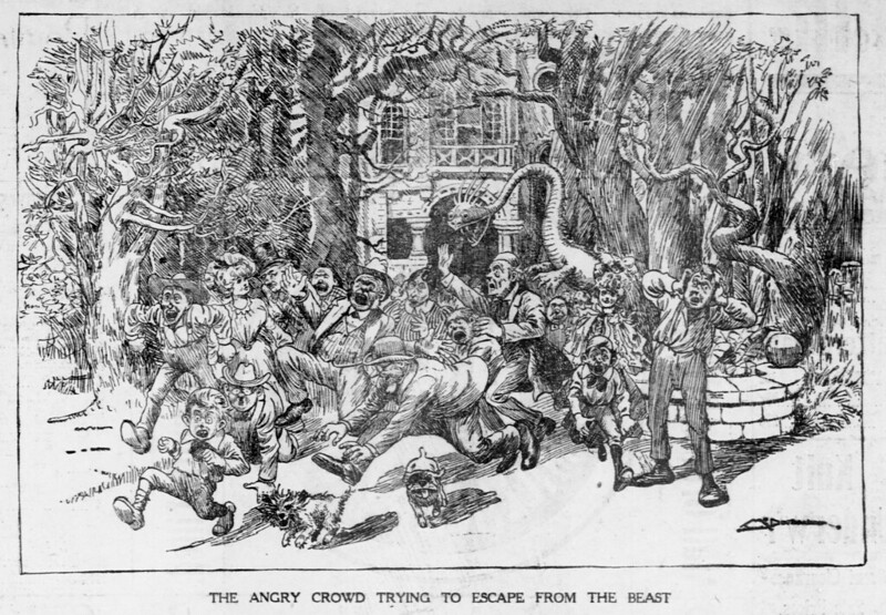 Walt McDougall - The Salt Lake herald., May 31, 1903, The Angry Crowd Trying To Escape From The Beast