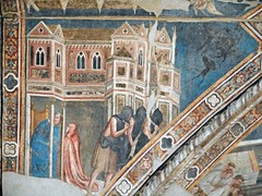 """""""Confession and Penance with devils"""" - Fresco (between 1352 and 1354) of """"The Sacraments"""" by Roberto d'Oderisio, Giotto's follower - Church of the Incoronata in Naples"""
