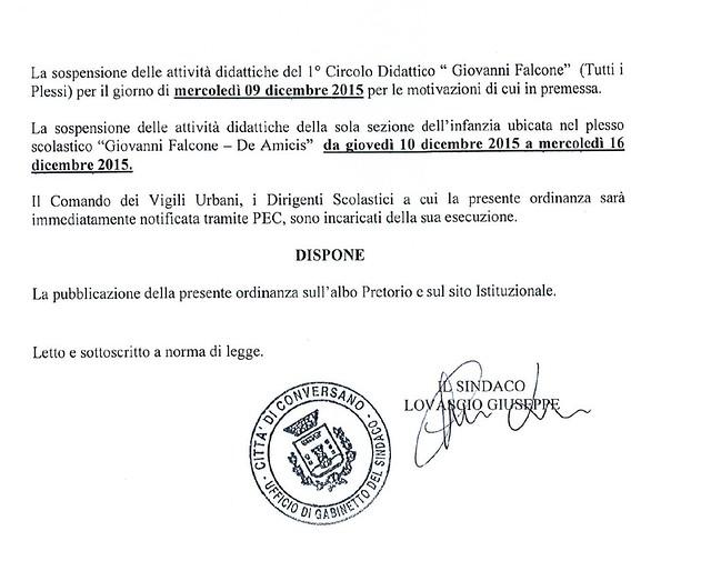 Conversano- ordinanza sindacale chiusura Falcone 2