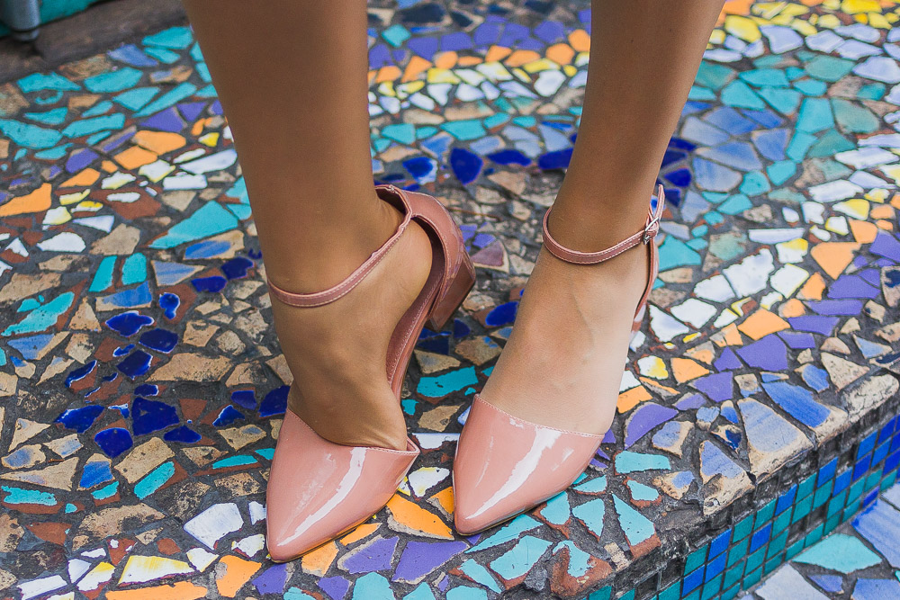 next pointed nude strap shoes