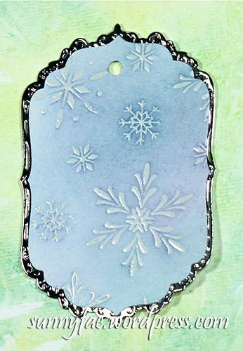 blue snowflake tag