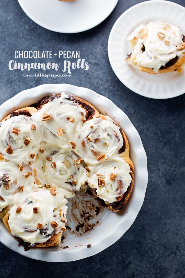 One Hour Chocolate Pecan Cinnamon Rolls - topped with a cream cheese frosting - these are better than Cinnabon! #onehourcinnamonrolls #cinnamonrolls #creamcheesefrosting | Littlespicejar.com