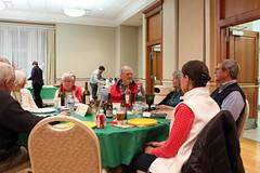 The last table to eat. Jan Lockwood, Jeanne Millin, Mike Millin, Ruth Gordon, Deane Gordon.hoto by George Reiske