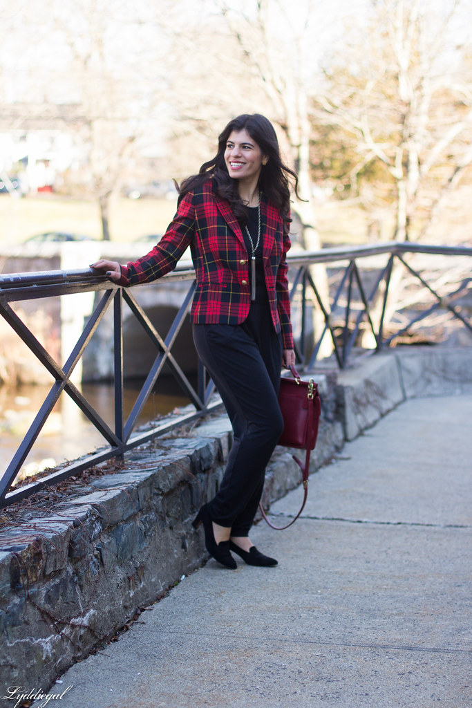 faux jumpsuit, red plaid blazer, red coach bag-1.jpg