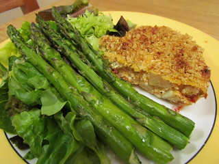 Potato, Shallot, and 'Pepper' Frittata; Simplicity Asparagus