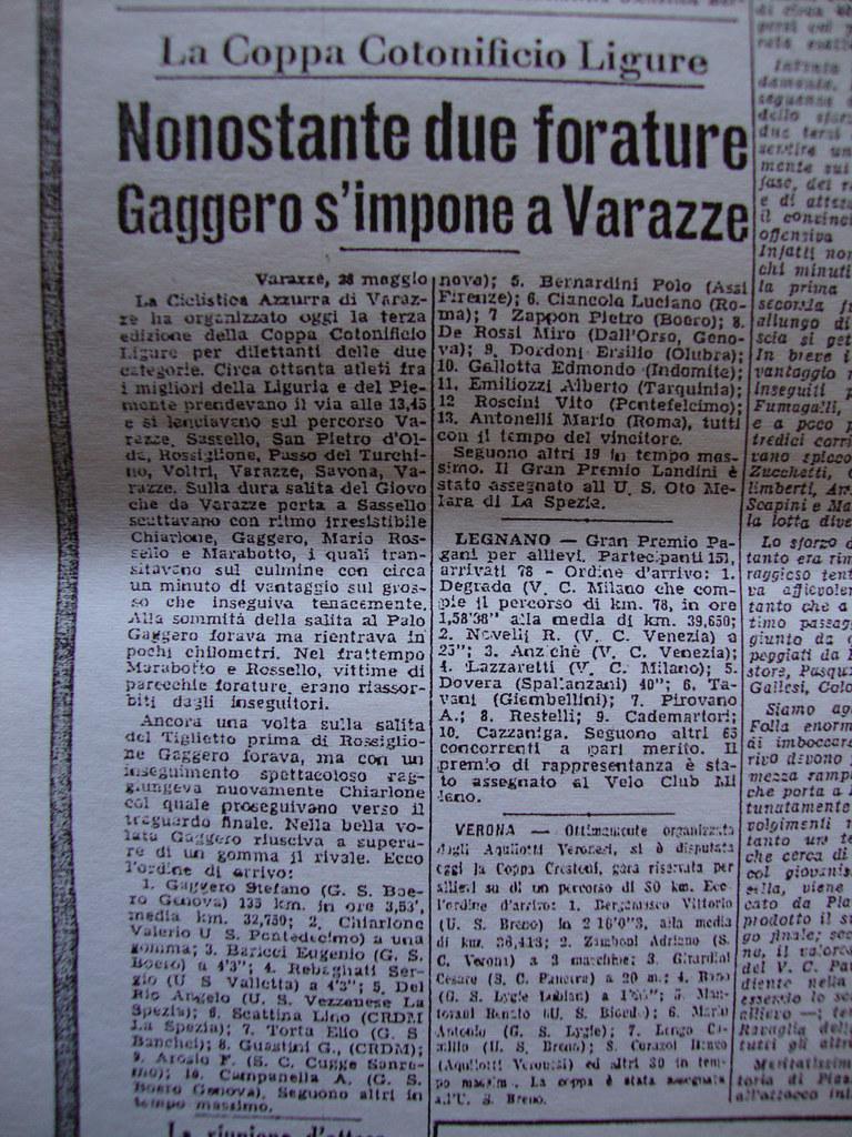 28-5-1950 Tutto Sport - Gaggero si impone a Varazze, Marabotto protagonista sfortunato