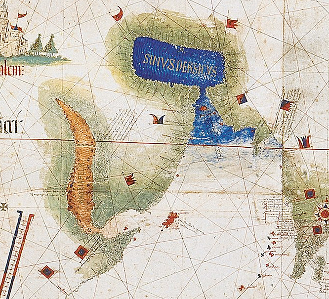 Detail showing Red Sea and Persian Gulf as viewed in the Cantino World Map