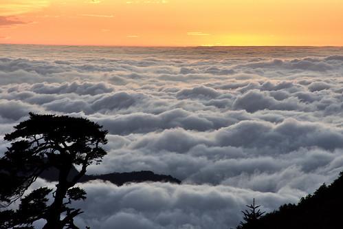 能高越嶺道-天池山莊夕陽、雲海