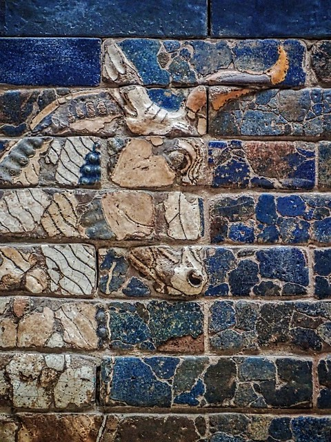 An Auroch symbol of Adad (Hadad) storm and rain god of ancient Mesopotamian religions on the Ishtar Gate of Babylon reconstructed with original bricks at the Pergamon Museum in Berlin 575 BCE