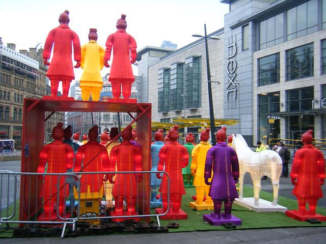 illuminated Terracotta Warriors, Manchester, England - Chinese new Year 2017