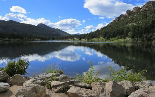 rockymountainnationalpark lilylake clouds estespark colorado nationalpark mountain mountains rocky reflection lake