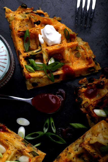 Loaded Baked Potato Hash Brown Waffles