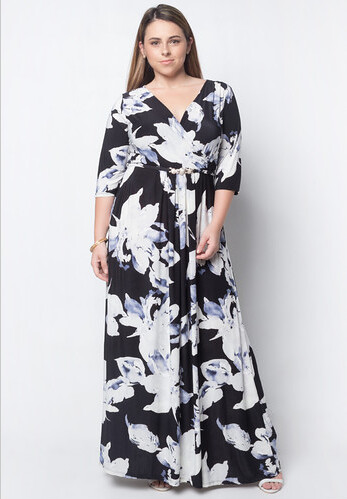 LOVE CURVES CLOTHING BY JGO black floral dress