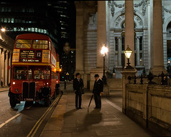 Vintage RT London Buses At Night