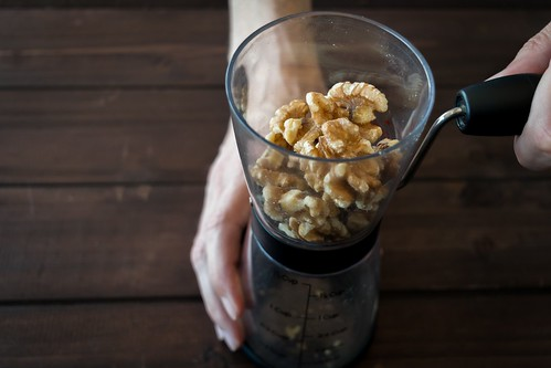 grinding 1/3 cup of walnuts