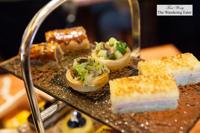 Pork and fennel sausage rolls, pickled walnut, green asparagus, parsley and baby gem tarts & croque monsieur sandwiches