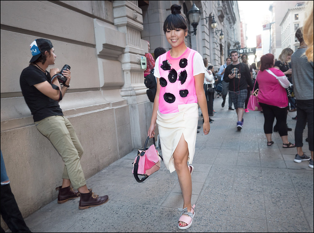Susie Bubble before de al Renta on 28th St NYFW 9-2015