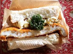 chicken katsu bigger than the bread♡  #chickenkatsu #kujakucurry #ishibashi #osaka #クジャクカリー #石橋 #大阪 #チキンカツサンド #sandwich