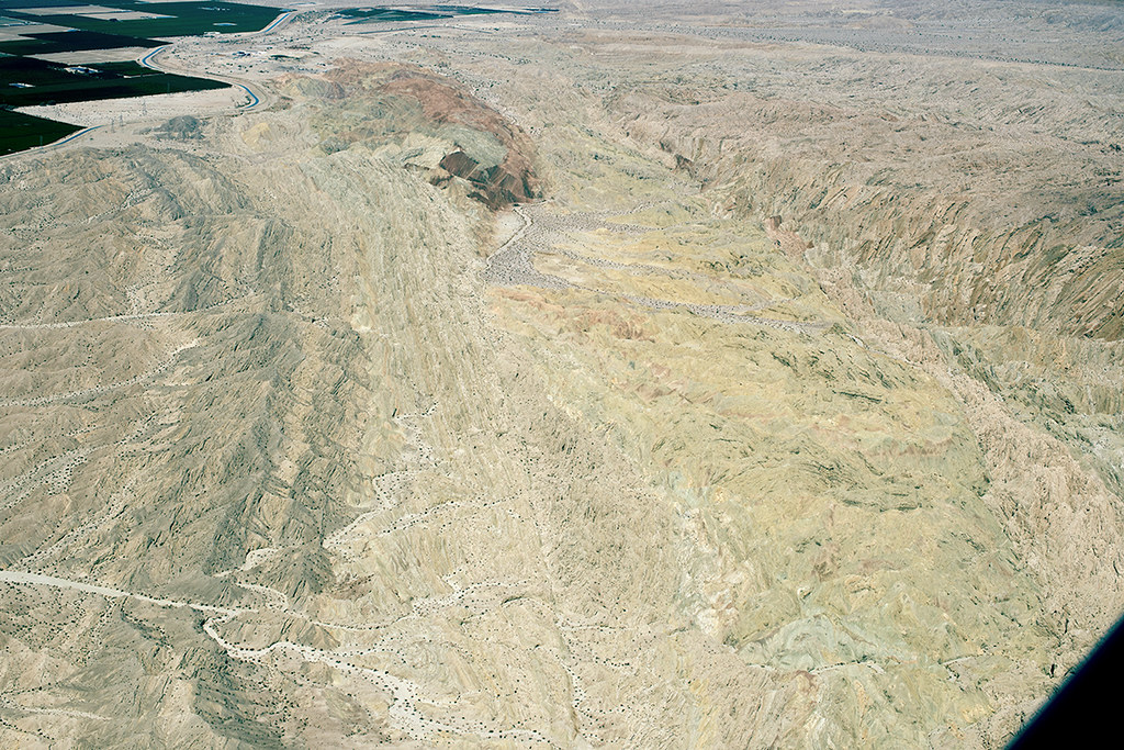 Aerial view of the San Andreas and Skeleton Canyon Faults, Mecca Hills, California