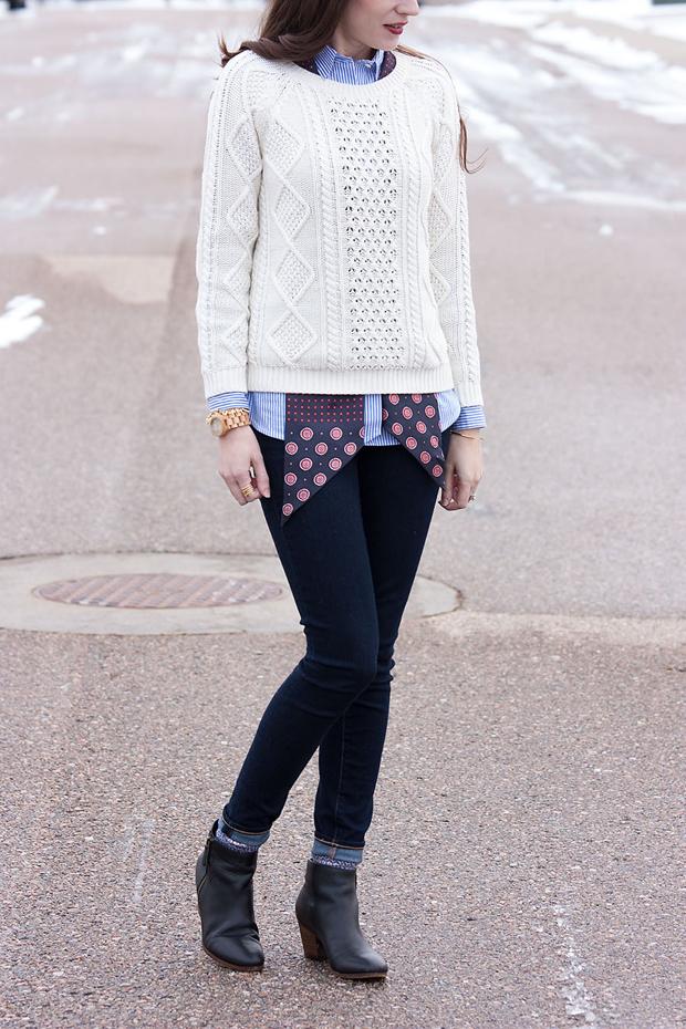 Gap Cable Knit Sweater, Banana Republic Silk Scarf, Dark Denim