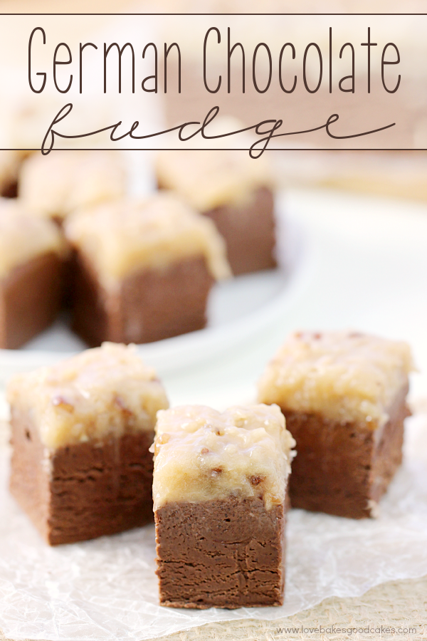 This German Chocolate Fudge will be the talk of the holidays! Thick chocolate fudge topped with a gooey coconut pecan icing! #SweetenYourSeason #IC #ad