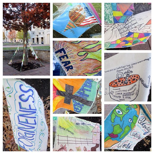 Hop on by this art display by UK students in the Pathways to Creativity UK Core class. The flags featuring themes from the last 3 @ukcommonreading Experience book selections hope to promote literacy visually.