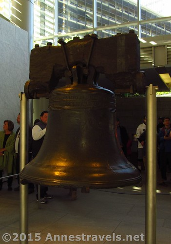 The uncracked side of the Liberty Bell. The pictures were better from that side because of the building's terrible lighting. Independence National Historical Park, Philadelphia, Pennsylvania