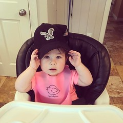 Chloe rocking daddy's hat. #thuglife:sunglasses: