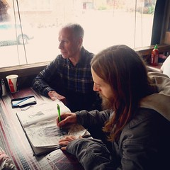 #scottbradleyferguson #drawing #his #father #alanscottferguson #perspective #thirdeye #thirdperson #denvercolorado #family #love #fourtyfour #sketchbook #lunch #middleeasternfood #theway #🎨 Would you like to get a portrait drawn of yourself????