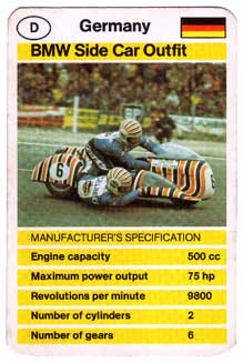 BMW Side Car Outfit Top Trumps card