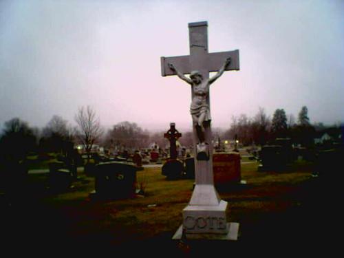 cameraphone creepy cross jesus crucify crucified crucifying concord newhampshire blossomhill cemetery sunrise dawn crucifix granite memorial headstone lomo metal