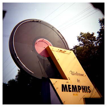 Welcome to Memphis Sign at Night