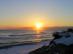 Snowy Sunset on Nantucket - Madaket Beach