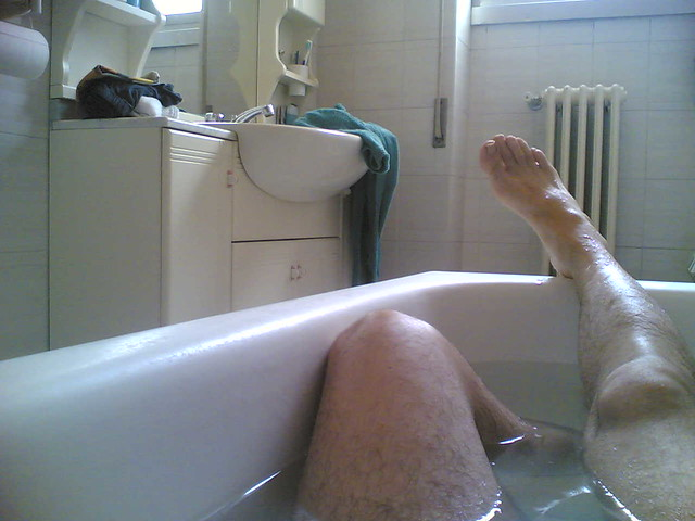 taking a bath in the morning