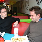 Webb and Tom lurk in a diner, San Francisco 2003