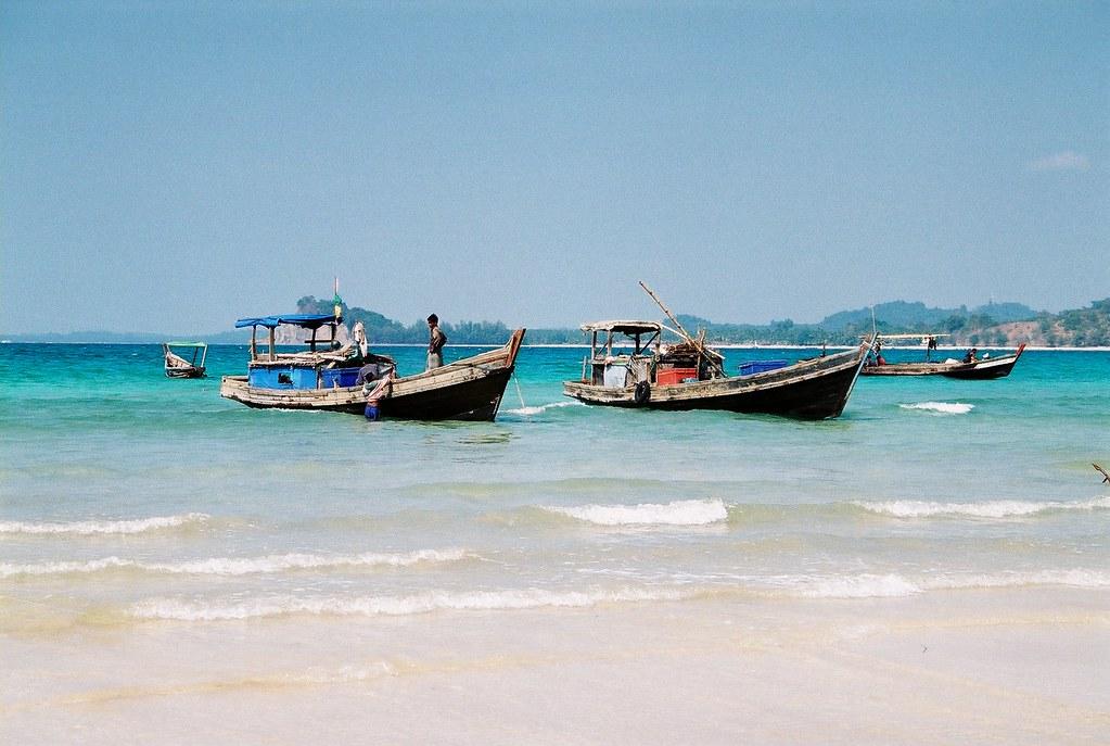 Fishing boats at Ngapali beach
