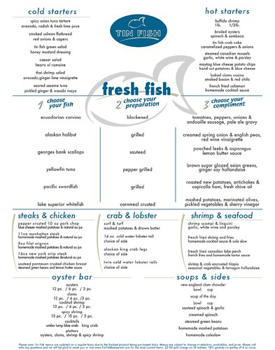 tin fish dinner menu 06 2006 flickr photo sharing