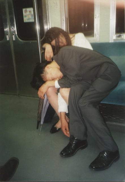 Drunk Couple Train Tokyo