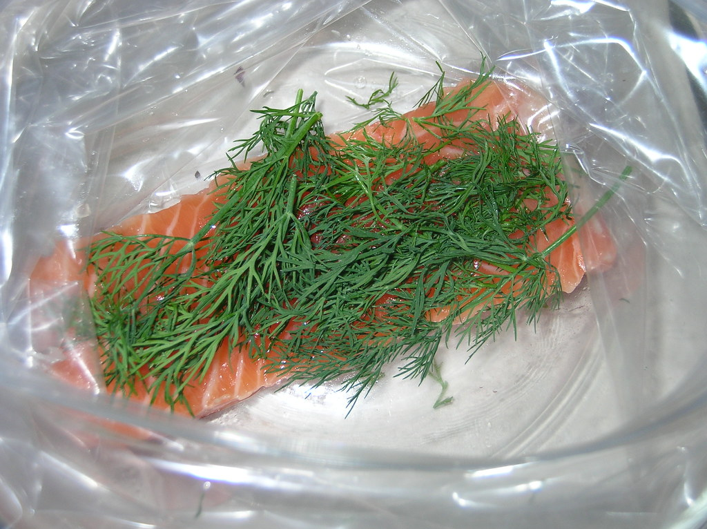 Salmon in ziplock, dill atop