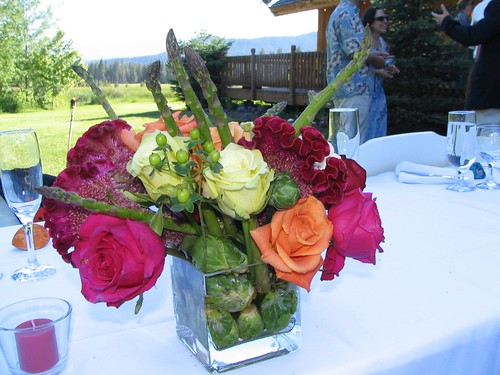 brussels sprout and asparagus centerpiece