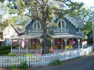 blue methodist camp cottage in oak bluffs